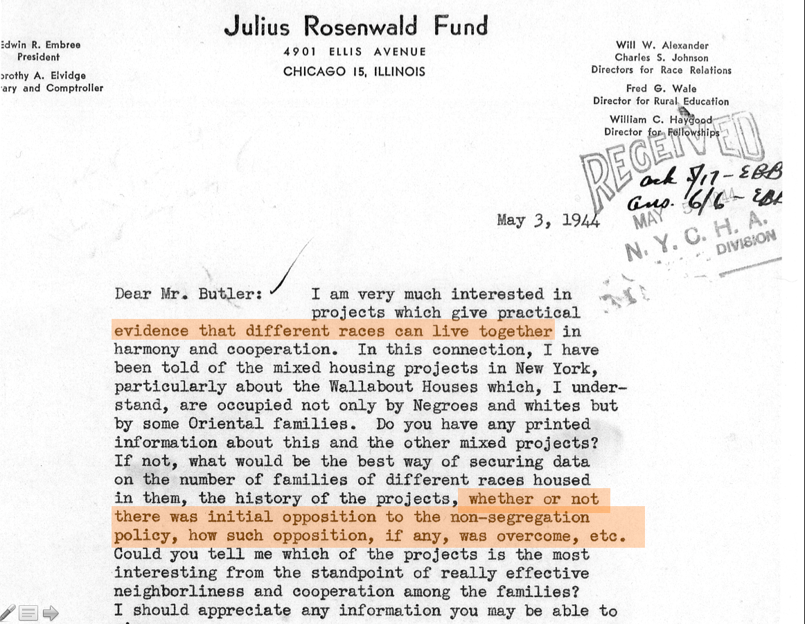 01-Julius Rosenwald Fund letter to NYCHA. How have you succeeded in integrating public housing?