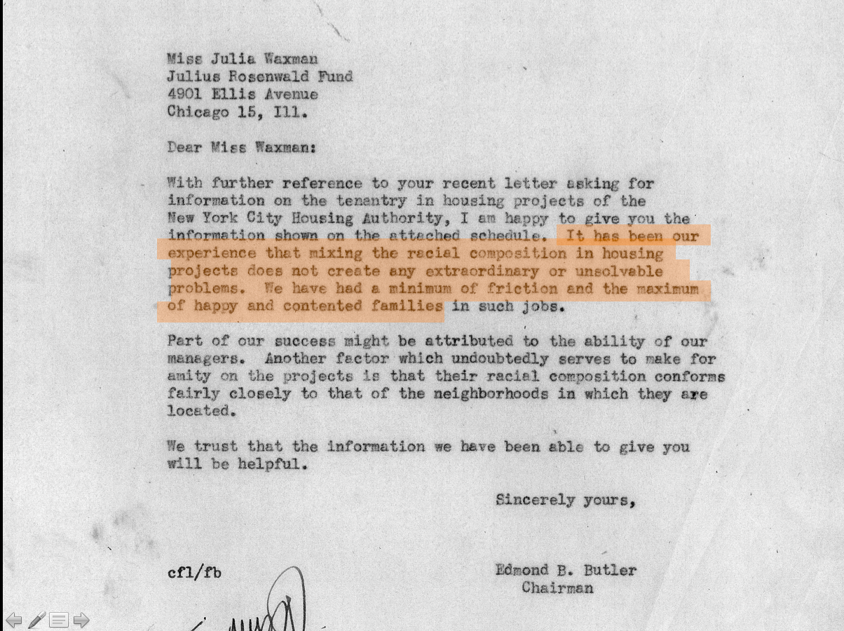 02-Gerard Butler of NYCHA responds to Julia Waxman at the Rosenwald Fund to say racial integration hasn't caused any extraordinary or unsolvable problems