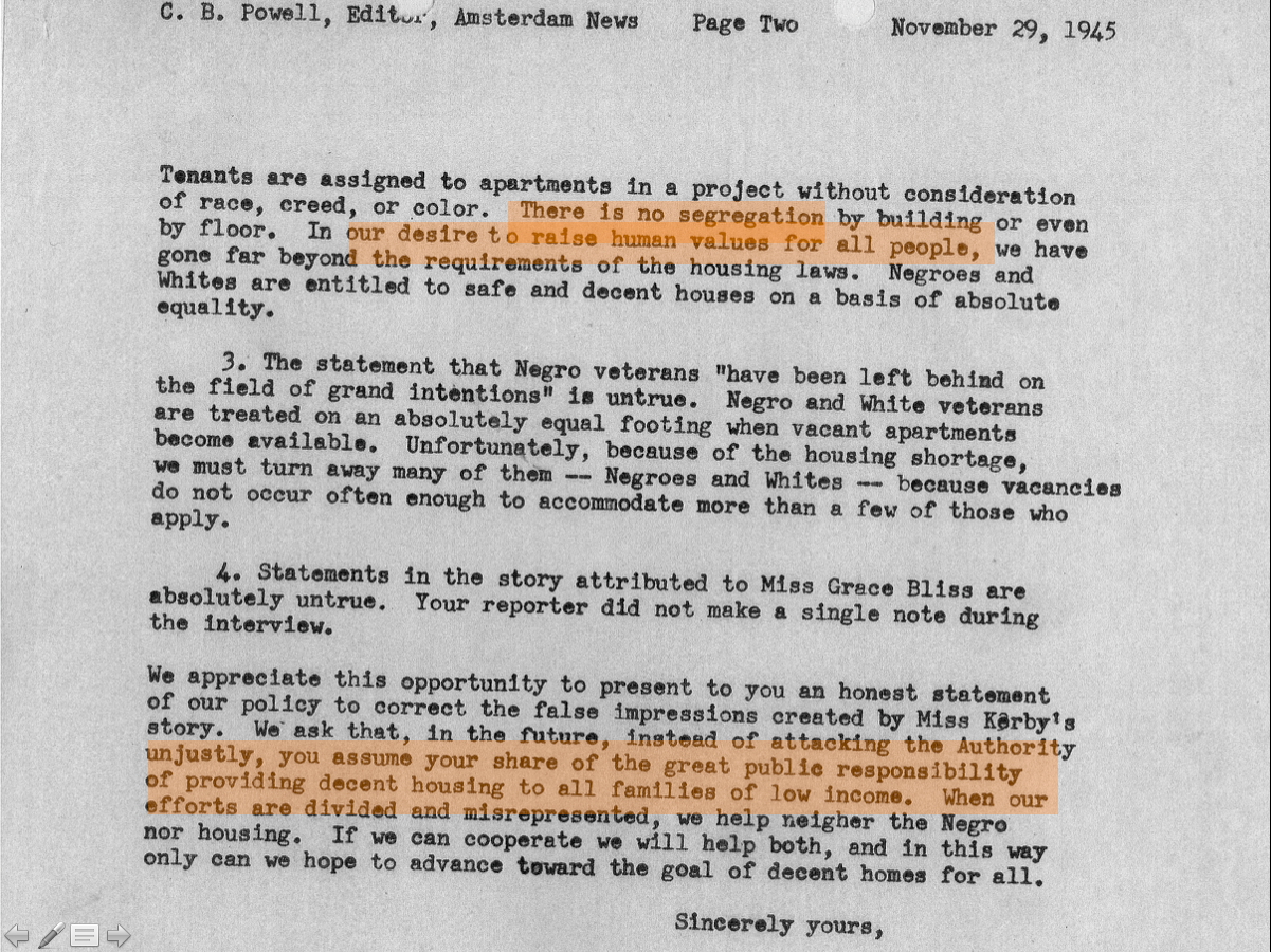 06-In 1945, NYCHA responds to a NY Amsterdam News article accusing NYCHA of racial segregation. There is no segregation by building or by floor, NYCHA says
